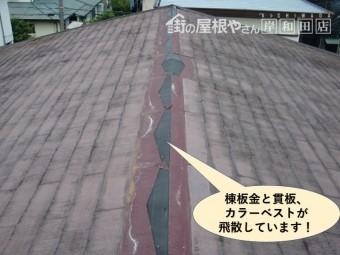 泉大津市の棟板金と貫板、カラーベストが飛散