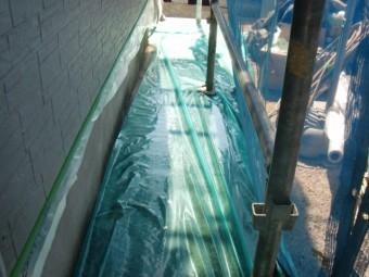 岸和田市西之内町の外壁塗装の養生