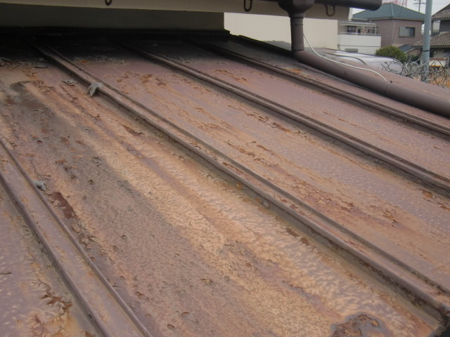 岸和田市 既存カラー鋼板劣化状況