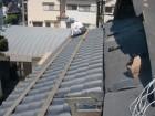 岸和田市土生町の屋根に足場設置
