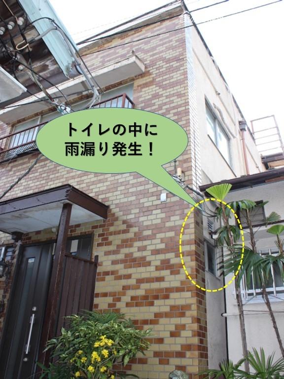 岸和田市の住宅のトイレの中に雨漏り発生