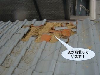 泉佐野市の瓦が飛散しています