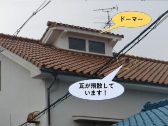 和泉市の瓦が飛散しています