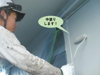 岸和田市の外壁の中塗り