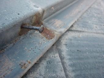 泉大津市の屋根の棟板金の釘
