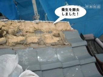 忠岡町の屋根の養生を撤去しました