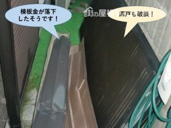 岸和田市の棟板金の飛散と雨戸の破損