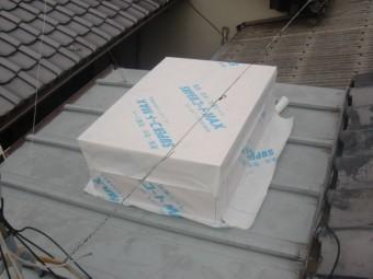 岸和田市内畑町のお風呂場の屋根かさ上げで防水シート貼り