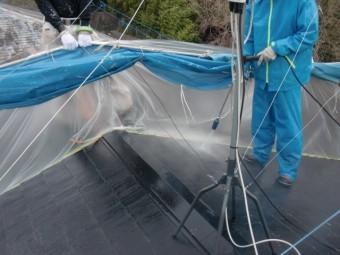 岸和田市天神山町の長屋の屋根洗浄
