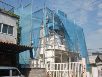 岸和田市春木旭町の屋根葺き替えの足場設置