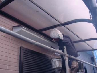 岸和田市尾生町の庇の上塗装