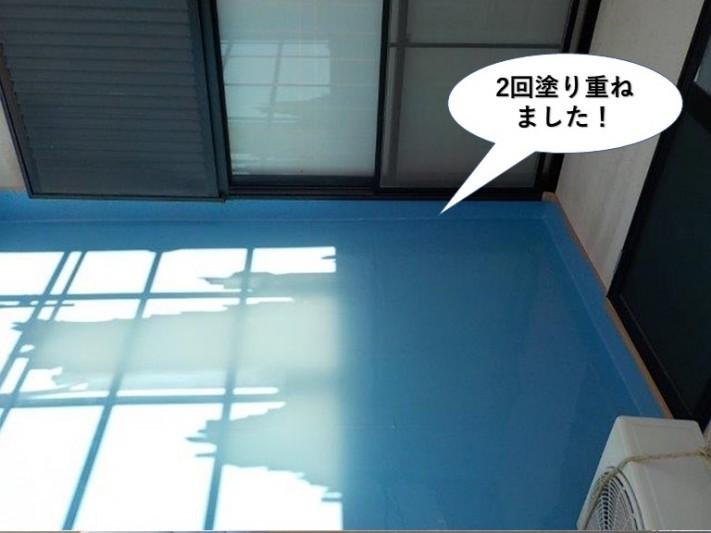 熊取町のベランダにウレタン樹脂を2回塗り重ねました