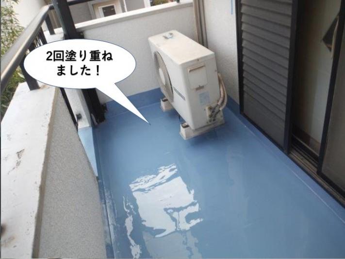 熊取町のベランダに2回塗り重ねました