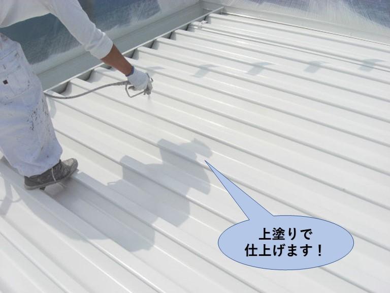 岸和田市の折板屋根を上塗りで仕上げます!