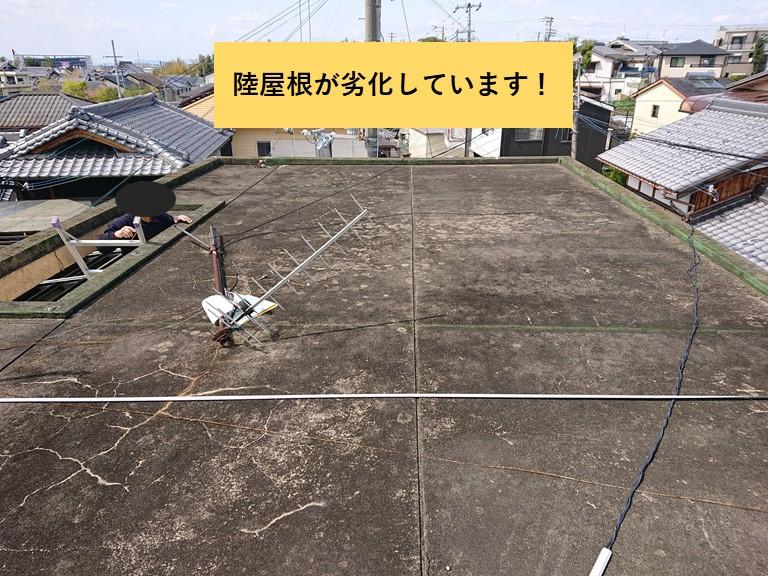 和泉市の陸屋根が劣化しています