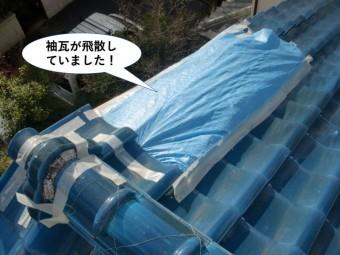 忠岡町の屋根の袖瓦が飛散していました