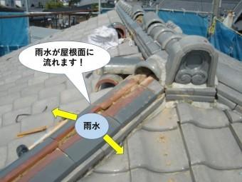 泉南市の降り棟の雨水が屋根面に流れます