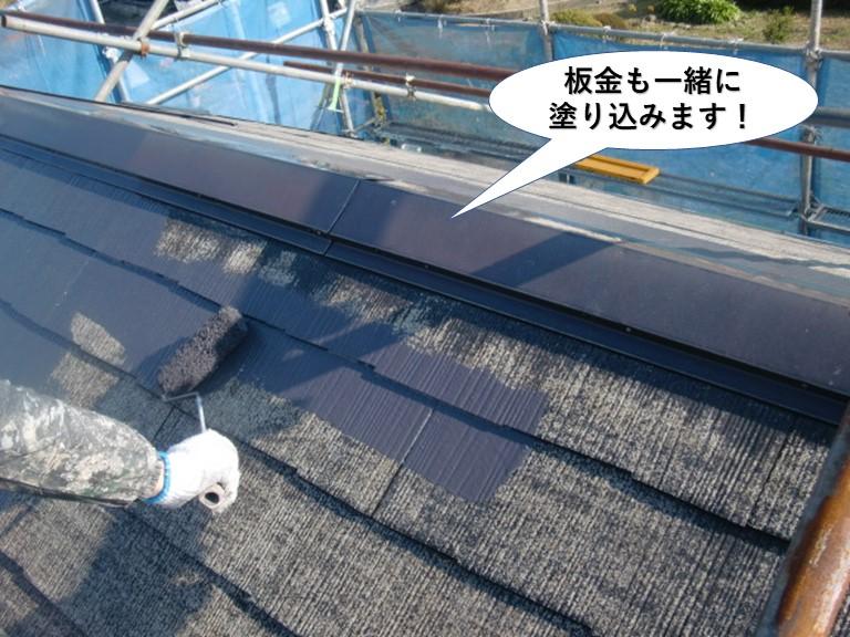 泉南市の屋根の板金も一緒に塗り込みます