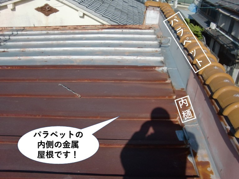 阪南市のパラペットと内樋