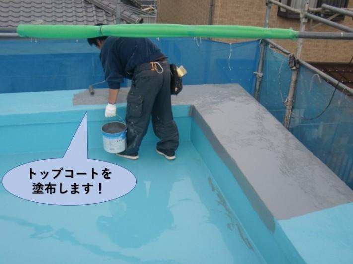 岸和田市の陸屋根にトップコートを塗布します!