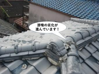 貝塚市の漆喰の劣化が進んでいます