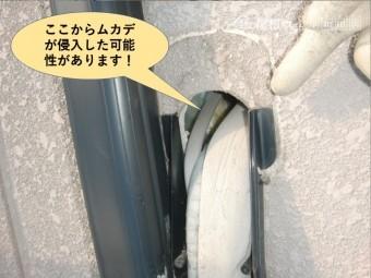 岸和田市の外壁の配線を通す穴