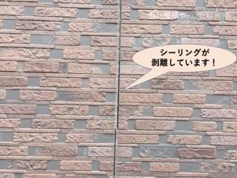 岸和田市の外壁の目地のシーリングが剥離しています