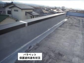 貝塚市のパラペット保護塗料塗布状況