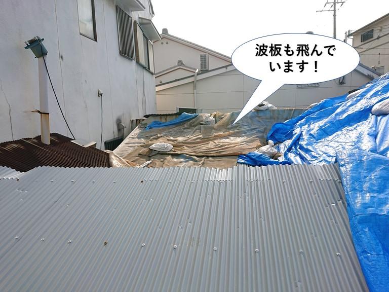 貝塚市の波板も飛んでいます