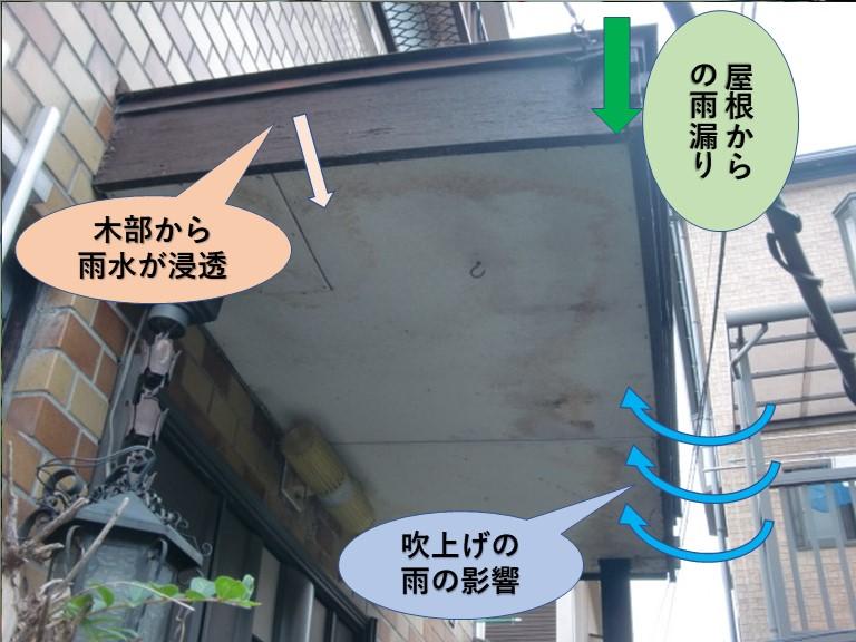 岸和田市の玄関の屋根の雨水浸入状況