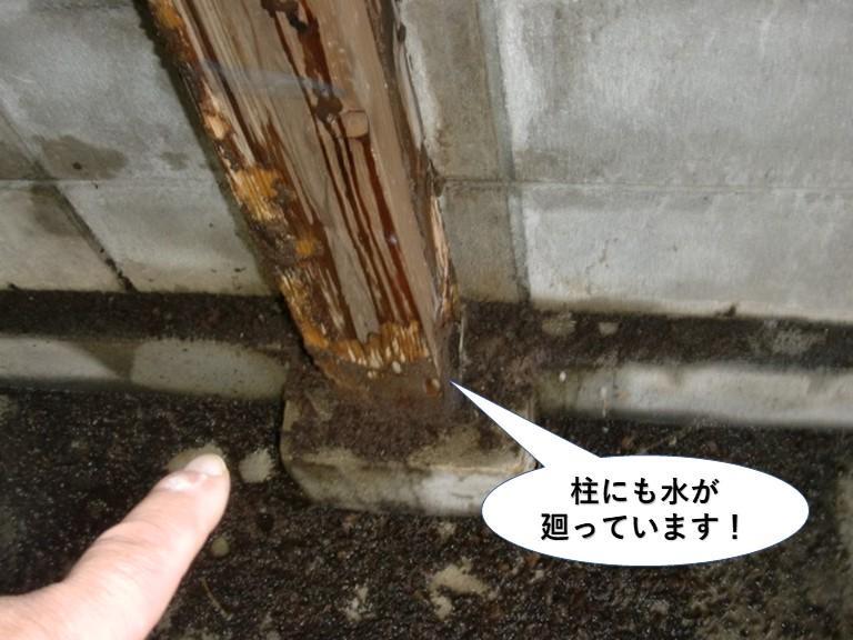 堺市のガレージの内部の柱にも水が廻っています