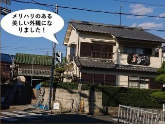 岸和田市の外壁塗装でメリハリのある美しい外観になりました