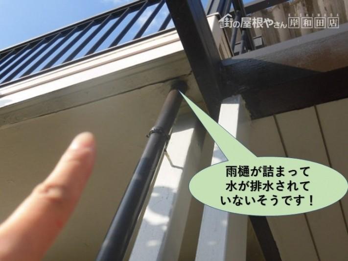 岸和田市の雨樋が詰まって水が排水されていないそうです!
