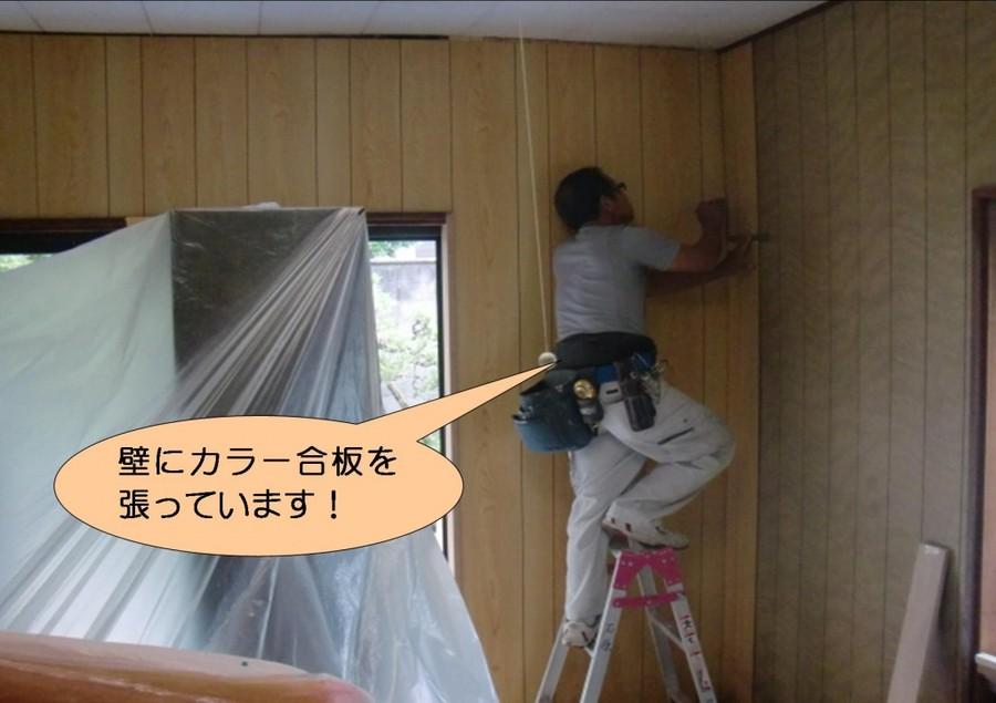 泉北郡忠岡町で壁にプリント合板設置