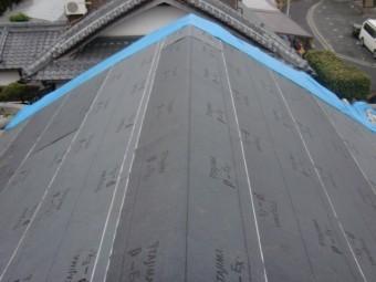岸和田市土生町の屋根葺き替え/ルーフィング張り