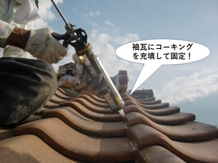 和泉市の袖瓦にコーキングを充填して固定