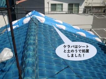 岸和田市のケラバはシートと土のうで処置しました