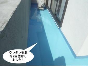 岸和田市のベランダにウレタン樹脂を2回塗布しました