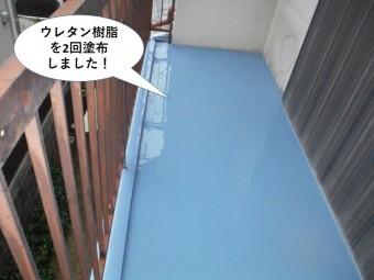 泉大津市のベランダにウレタン樹脂を2回塗布しました