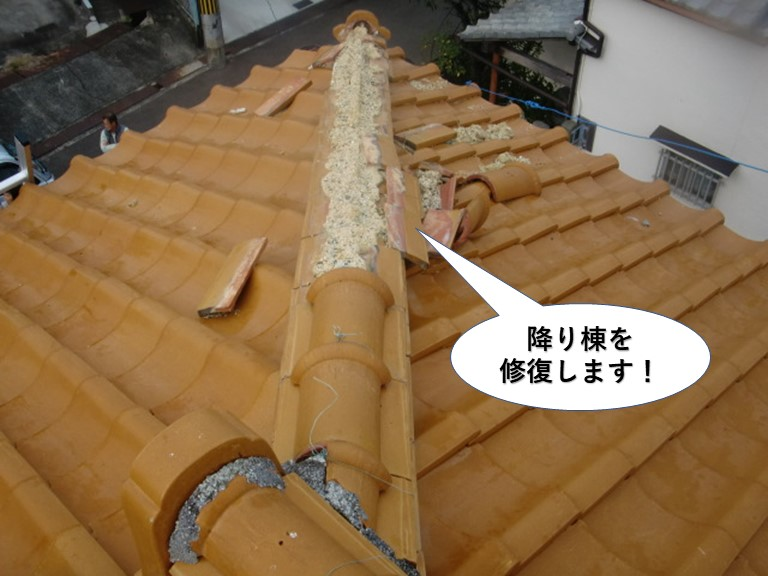 泉南市の降り棟を修復します