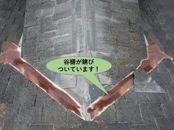 和泉市の屋根の谷樋が錆びついています