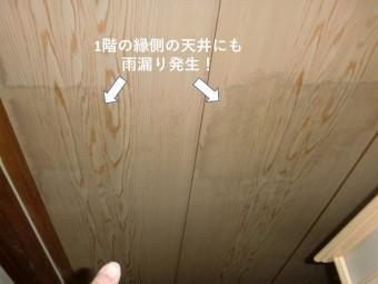 忠岡町の1階の縁側でも雨漏り発生