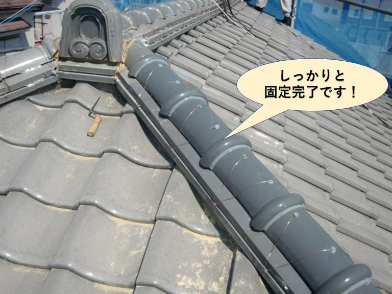 岸和田市の降り棟をしっかりと固定完了です