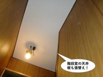 岸和田市の階段室の天井板も張替