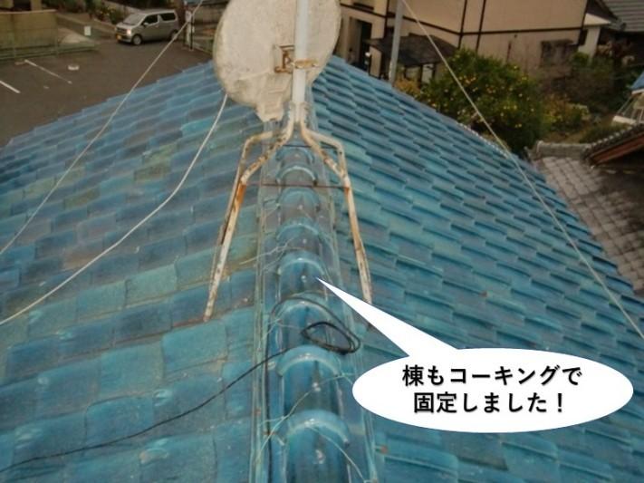 岸和田市の棟もコーキングで固定しました