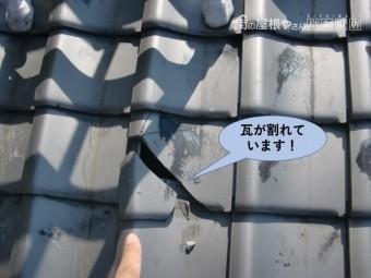 泉大津市の下屋の瓦が割れています