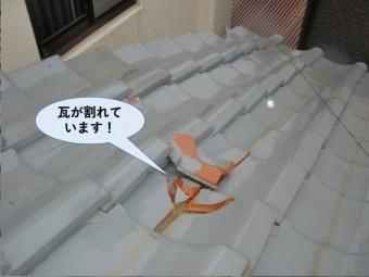 泉佐野市の瓦が割れています