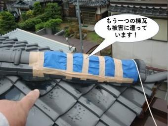 泉大津市のもう一つの棟瓦も被害に遭っています