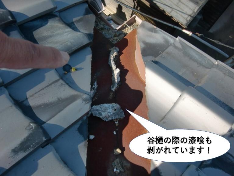 阪南市の谷樋の際の漆喰も剥がれています