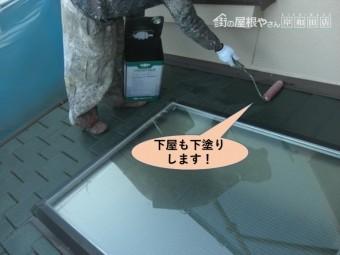 阪南市の下屋も下塗りします